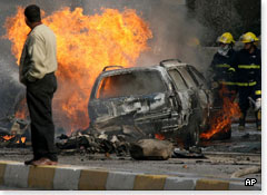Aftermath of a car bomb in Baghdad, December 2006