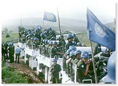 UN peacekeepers arrive near the Iran-Iraq border, 1988