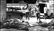 Bodies of Palestinians killed in September 1982 in the Sabra refugee camp