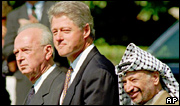 Israeli Prime Minister Yitzhak Rabin and PLO chairman Yasser Arafat with US President Bill Clinton at the signing of the 1993 peace agreement