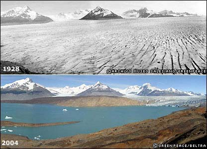 Argentina's Upsala Glacier was once the biggest in South America, but it is now disappearing at a rate of 200 metres per year.