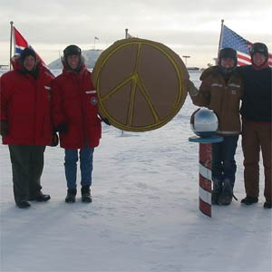 scientists protesting at South Pole