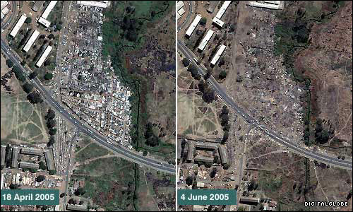 [Before and after images show shanty town clearance in a suburb of Harare.]