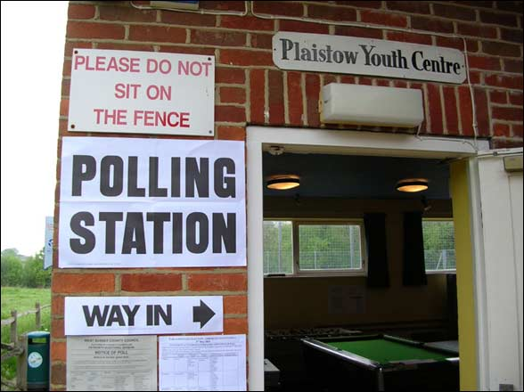 BBC caption:  After four weeks of campaigning the polls are closed, we now await the result of the general election. Quentin Gadd spotted these signs at a polling station, he says,