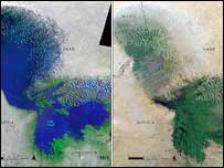 Lake Chad, which once straddled the borders of Chad, Niger, Nigeria and Cameroon, has shrunk by an estimated 95% since the mid 1960s, due to the growth of agriculture and declining rainfall. Image: Unep