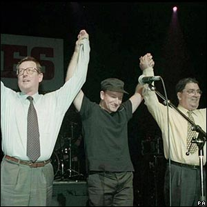 Bono and Irish leaders during the Good Friday peace negotiations