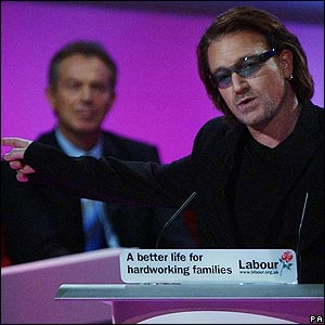 Bono, one of the figureheads of the Make Poverty History campaign with Tony Blair.