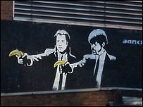Bbc news uk iconic banksy image painted over for Banksy mural painted over