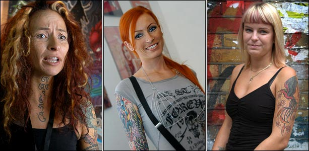 Tattoo artist Genziana Cocco, tattooed pin-up model and TV host Anne