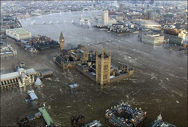 Westminster under water