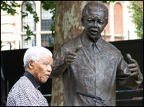 Nelson Mandela at the unveiling of his bronze statue in Parliament Square