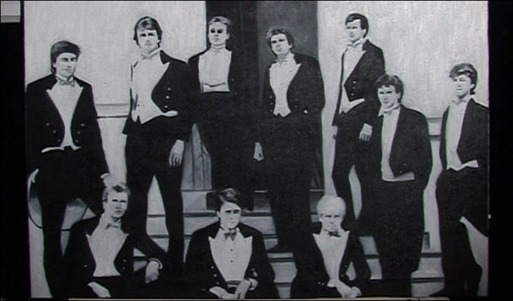 The Bullingdon Dining Club of the 1980s. Back Row, 2nd Left is David Cameron, leader of the Conservative Party.