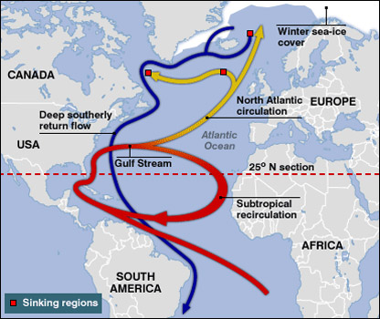 MOC  Warm water flows from the equator to the North and returns at    Gulf Stream Waters