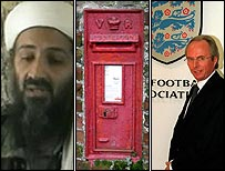 Osama Bin Laden, post box, Sven-Goran Eriksson