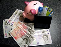 Money, wallet and piggybank