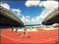 runners in a stadium