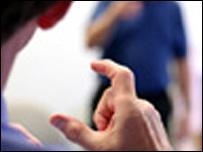man doing sign language