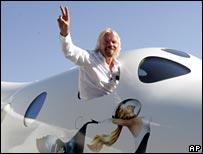 Sir Richard Branson leans out of the cockpit