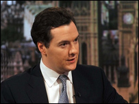 Shadow Chancellor George Osborne appearing on the Andrew Marr Show