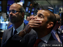 Traders on the floor of the New York Stock Exchange in September 2008