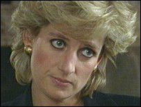 Princess Diana during her interview with Panorama's Martin Bashir