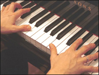 Hands playing on a piano