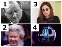 David Dimbleby, Ozzy Osbourne, Queen Elizabeth II, Current Panorama logo