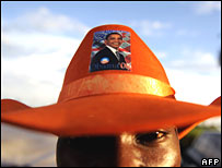 Barack Obama supporter in his ancestral village of Kogelo, Kenya