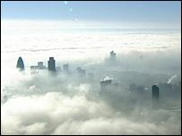 London skyscrapers in fog