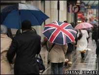 People using umbrellas in the rain