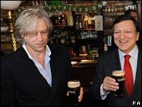 Bob Geldof and Jose Manuel Barroso celebrate