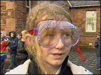 School girl in goggles