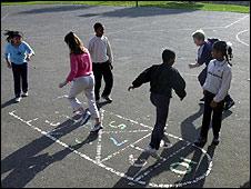 Schoolyard hopscotch
