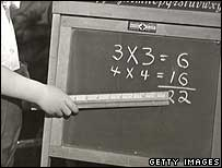Boy pointing at blackboard