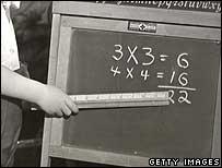 Boy pointing at blackboard