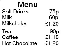 Graphic of menu