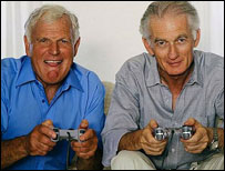 Older men playing a Playstation