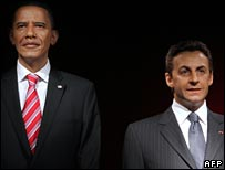 Obama and Sarkozy waxwork