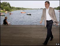 Gordon Brown in Norfolk last summer