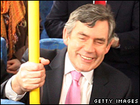 Gordon Brown sitting on a bus