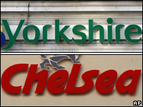 The logos of the Yorkshire and Chelsea Building Societies