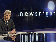 Jeremy Paxman on the Newsnight set