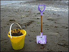A bucket and spade on the beach