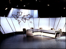 An empty Newsnight studio in 1980