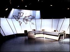 An empty Newsnight studio in 1980