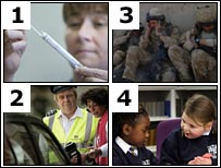 Nurse, soldiers, pupils, traffic warden