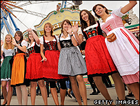 Women in dirndl dresses