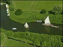 Aerial view of Norfolk Broads
