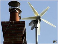 A wind turbine on a house