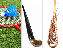 Badminton, hockey, lacrosse
